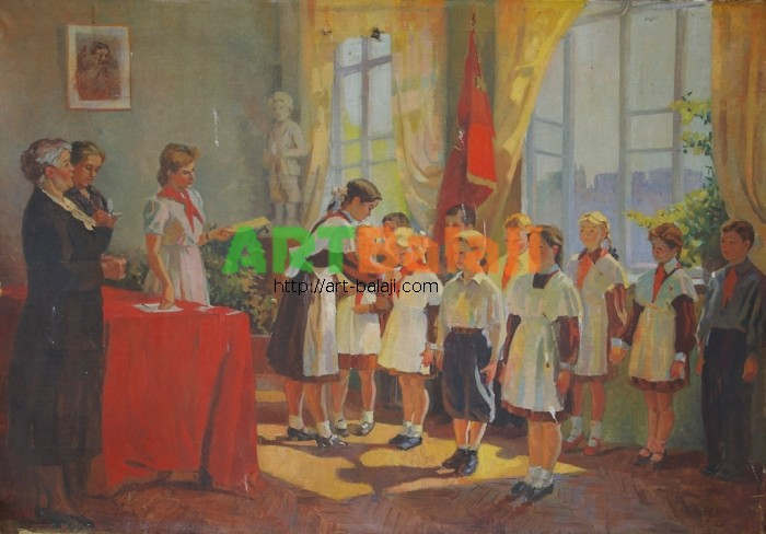 Artist : Прием в пионеры 90-130 х.м. 70е 0,8.JPG