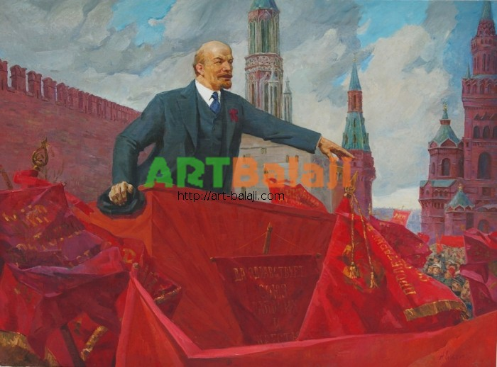 Artist : Сидоров А. Е. Выступление Ленина  118-159 х.м. 76г 1,5.JPG