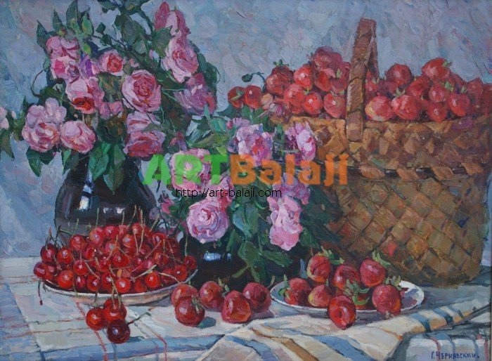 Artist : Чернявский Г. Розы и клубника 60-80 х.м. 80г  1,2.JPG