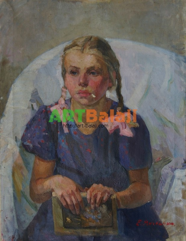 Artist : Яковенко Е.Н. П-т девочки 66-50 х.м. 70г.JPG