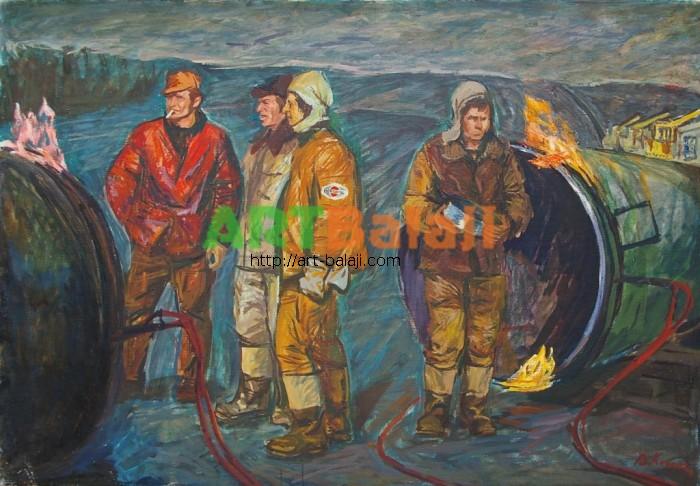 Artist : Козик В. Начало смены 90-130 х.м. 77г.JPG