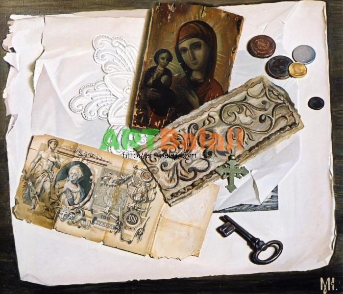 Artist Constantin Mogilevsky: Still life with icon (left part)