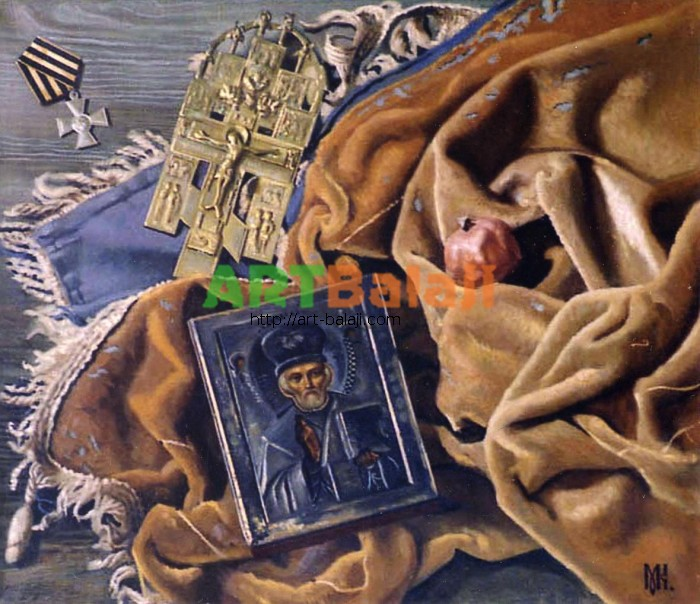 Artist Constantin Mogilevsky: Still life with icon (right part)