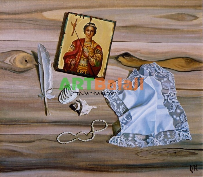 Artist Constantin Mogilevsky: Still life with icon (central part)