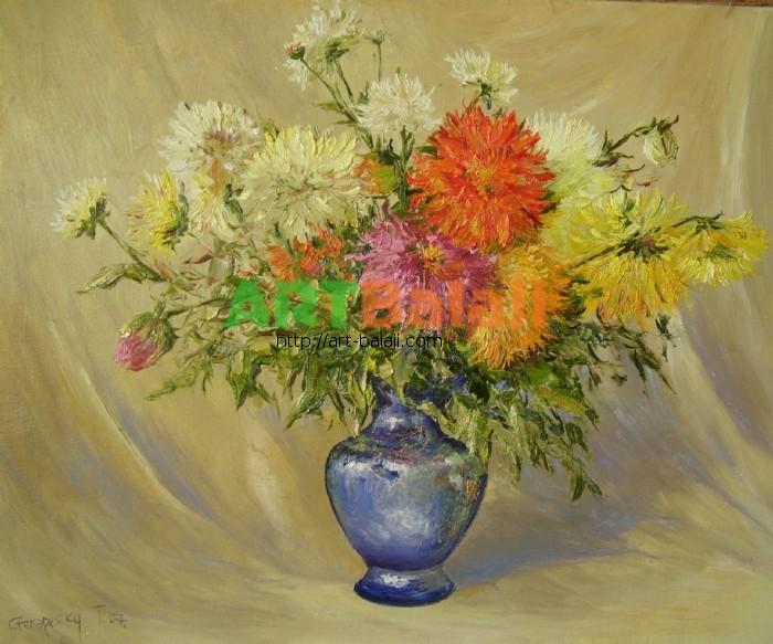 Artist Stegaresku Tudor: Цветы в синей вазе.
