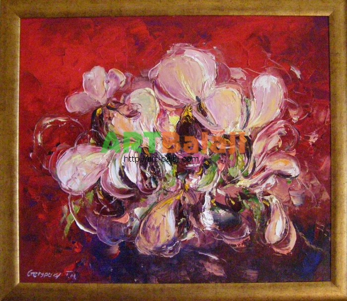 Artist Stegaresku Tudor: Irises against red background