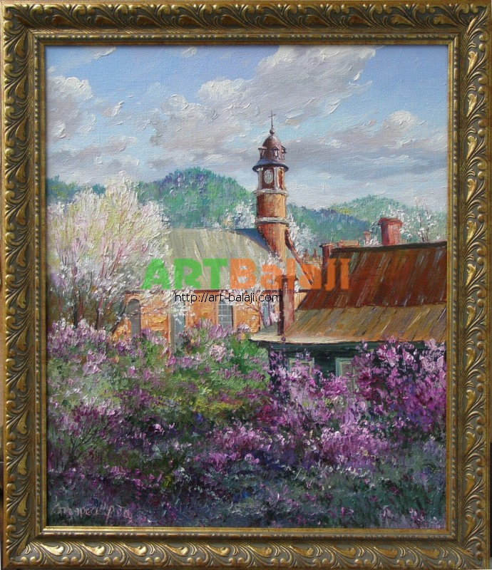 Artist Stegaresku Tudor: Old Roman-Catholic church. Lilac is blossoming. The Carpathian Mts