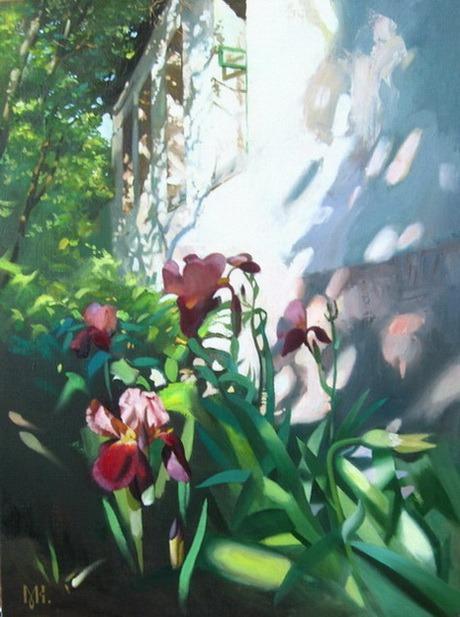Artist Constantin Mogilevsky: Flowers near the houser