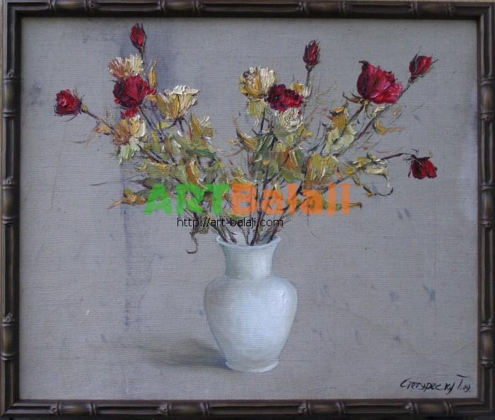 Artist Stegaresku Tudor: Roses in white vase