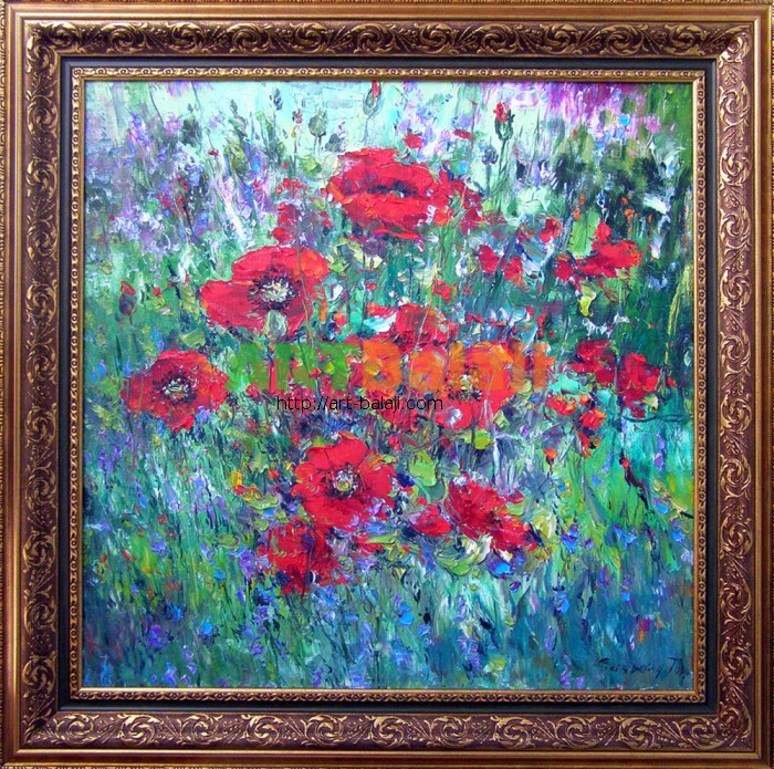 Artist Stegaresku Tudor: Poppies on green