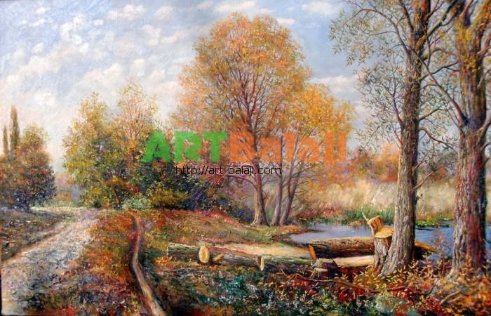Художник Мыцык С.: Осень на реке Красной