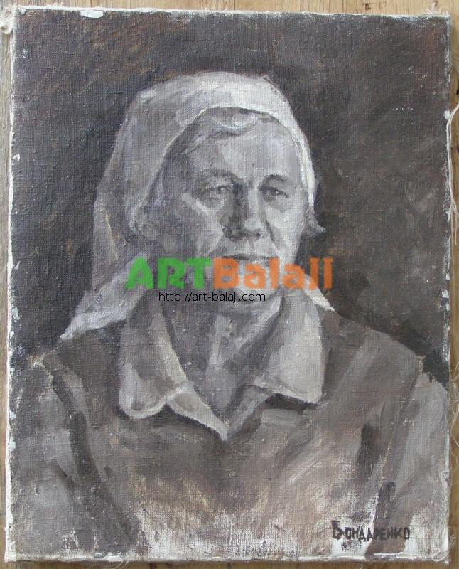 Artist Bondarenko Petr Kuzmich: A woman in a kerchief
