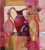 Romantic still life, in warm colors