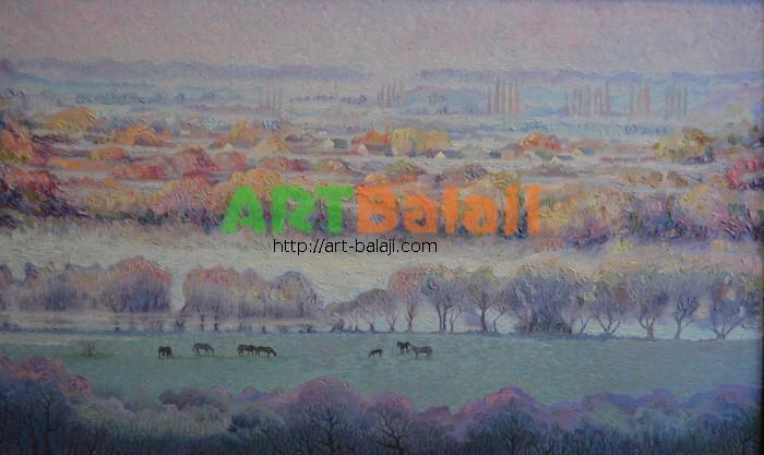 Artist Borit`ko Viktor Mikhai`lovich: Хуторок за рекой.