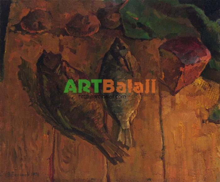 Artist Беликов Василий Матвеевич: Натюрморт с рыбами