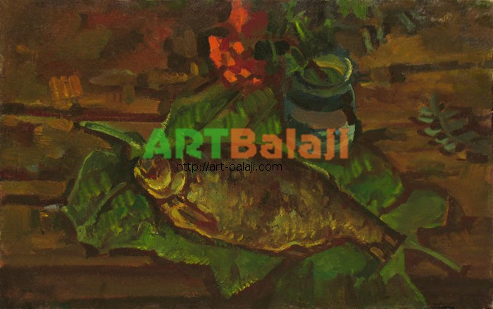 Artist Беликов Василий Матвеевич: Натюрморт с рыбой на листьях
