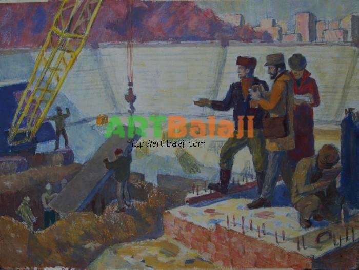 Artist : Construction of a stadium