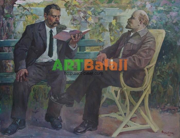 Artist : Варшавский А.Э. Ленин и Горький 149-193 х.м. 75г  0.8.JPG