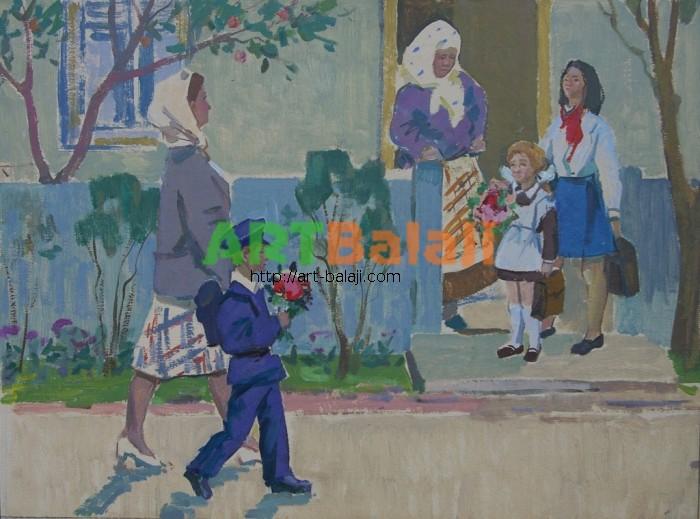 Artist : Горшков Н. Первый звонок 41-55 х.м. 70е.JPG