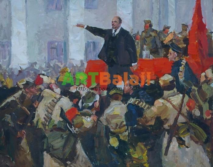 Художник : Коган-Шац Выступление Ленина 39,5-49,5
