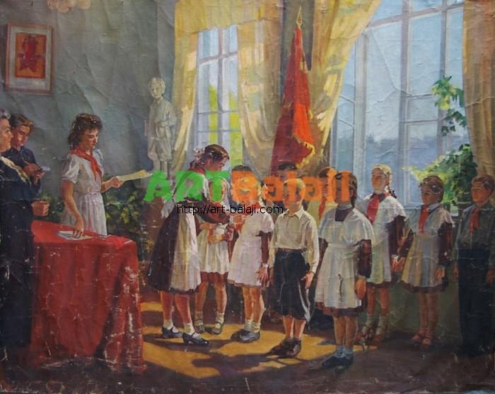 Artist : Прием в пионеры 142-184 х.м. 60е 0,5.JPG
