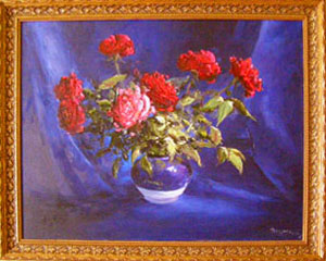Artist Stegaresku Tudor: Roses  against blue background